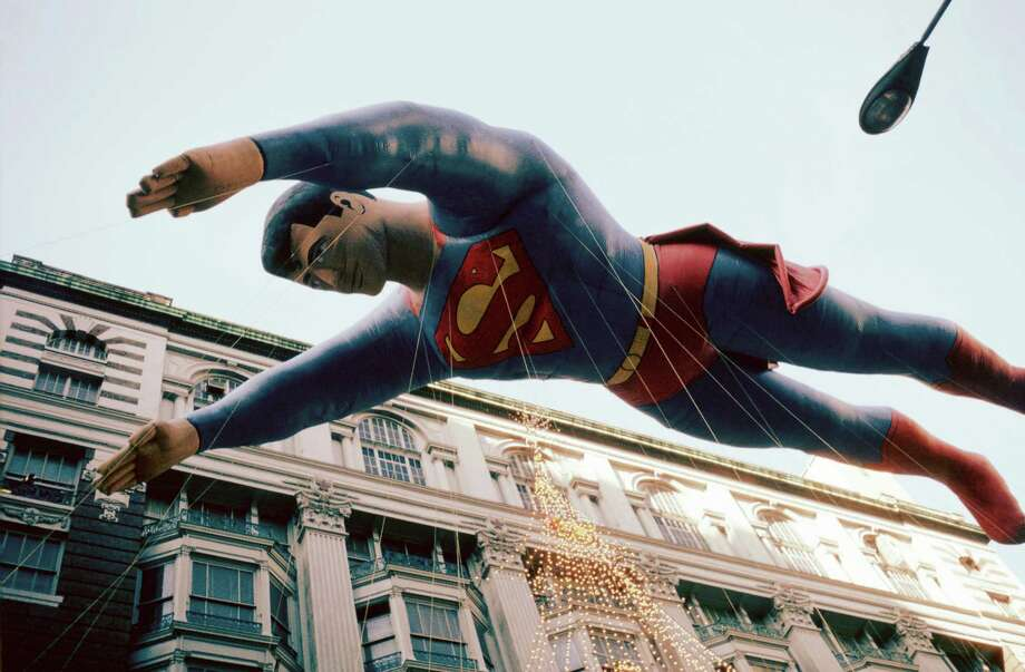 Superman flies over the crowd during the 1981 Macy's Thanksgiving Day Parade. This third version of the Superman balloon, which debuted in 1980, was the largest balloon to appear in the parade at the time. Photo: NBC, Getty Images / © NBC Universal, Inc.