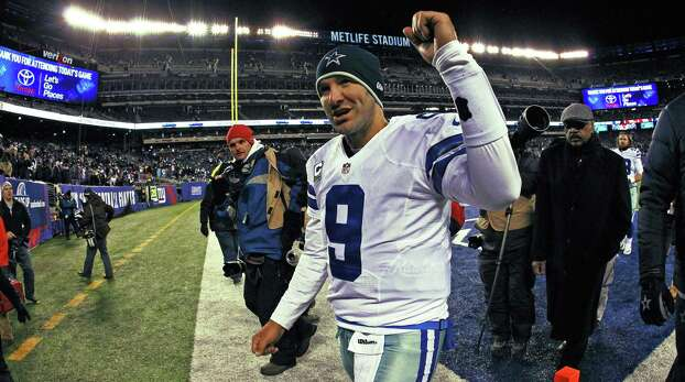 Dallas Cowboys quarterback Tony Romo (9) acknowledges fans at the end of the game against the New York Giants in East Rutherford, N.J., on Sunday, Nov. 24, 2013. The Cowboys beat the Giants, 24-21. (Paul Moseley/Fort Worth Star-Telegram/MCT) Photo: Paul Moseley, McClatchy-Tribune News Service / Fort Worth Star-Telegram