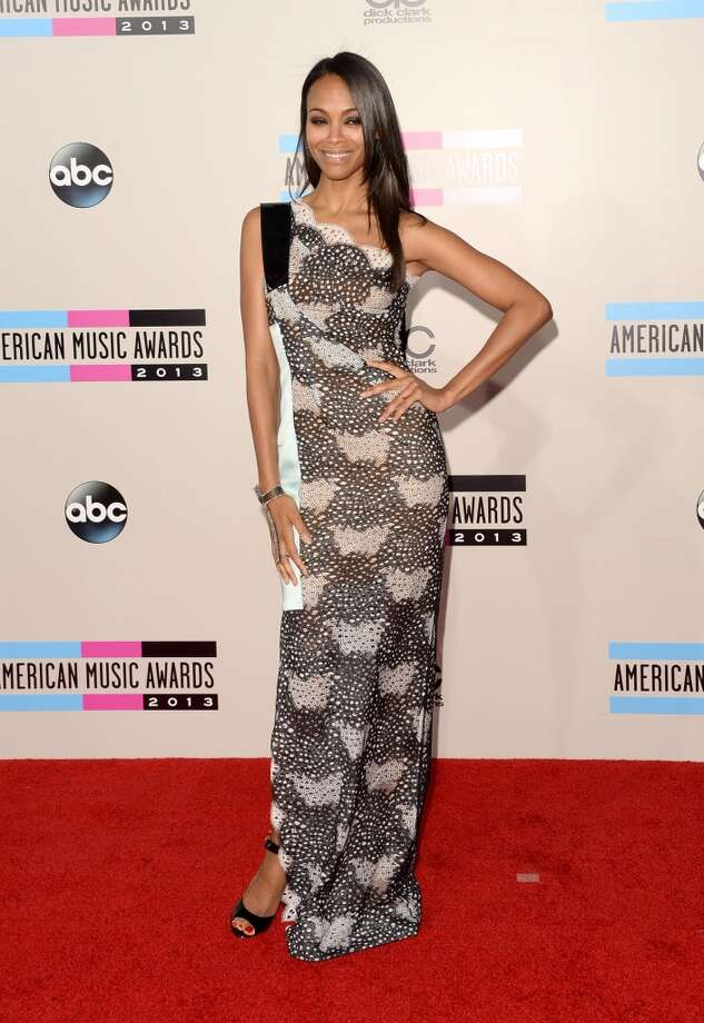 Actress Zoe Saldana attends the 2013 American Music Awards at Nokia Theatre L.A. Live on November 24, 2013 in Los Angeles, California.  (Photo by Jason Merritt/Getty Images) Photo: Jason Merritt, Getty Images