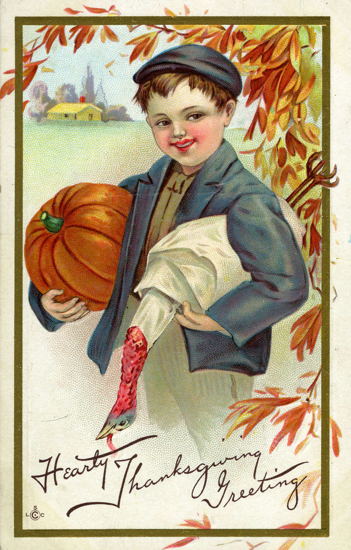 Thanksgiving postcard showing a young boy carrying a pumpkin under one arm and a turkey under the other, United States, 1915.