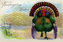 UNITED STATES - CIRCA 1900:  The sender of the vintage postcard is obviously the one conveying wished for the Thanksgiving feast because the turkey probably will not enjoy the holiday as much.