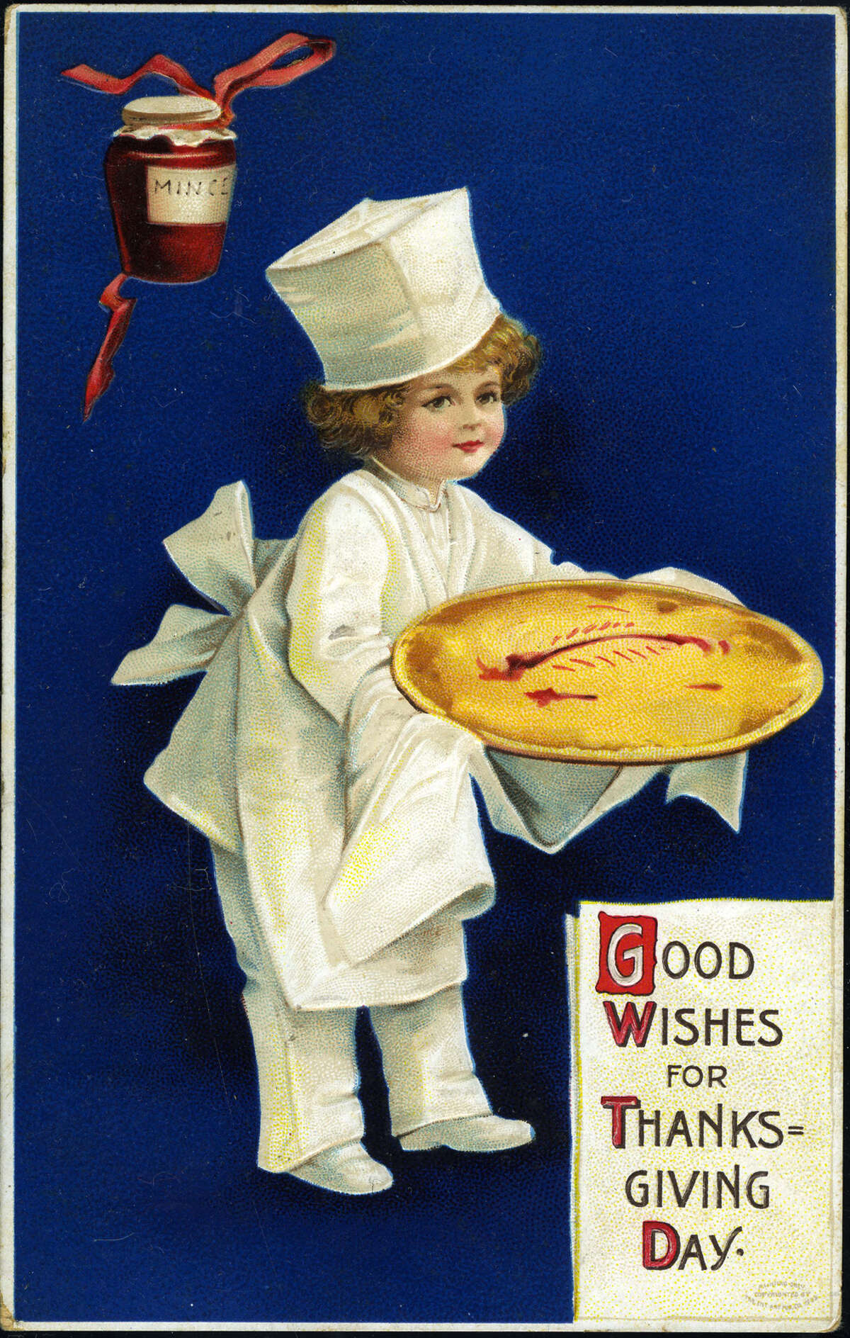 That's a very nice looking mincemeat pie, but where's the turkey? (circa 1910)