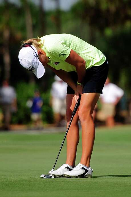 Stacy Lewis is upset with a missed putt that contributed to her tie for sixth, but the day wasn't a total loss as she became the first U.S. player in 19 years to win the Vare Trophy for lowest scoring average. Photo: Corey Perrine, MBR / Naples Daily News