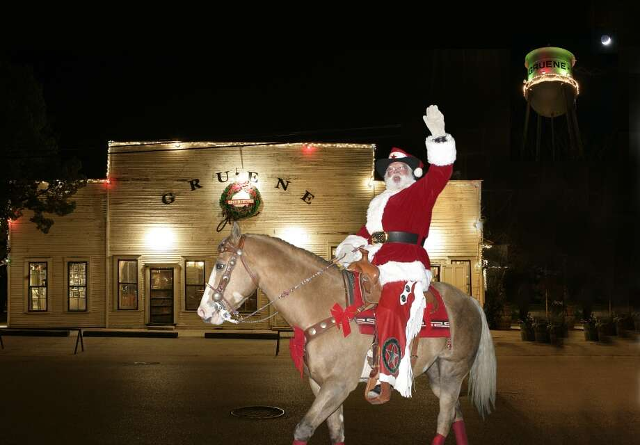 Cowboy Kringle rides into Gruene Saturday, Dec. 7 to offer Christmas greetings and take photos with children. At 6 p.m, he official turns on the town's lights for the holdays. Cowboy Kringle rides into Gruene to light the town for Christmas.  Photo by Dan Tharp, courtesy of Gruene Historic District. Photo: Dan Tharpe, Gruene Historic District