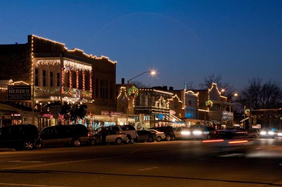 Lights outline historic buildings along Fredericksburg's Main Street. Photo: Trish McCabe Rawls, Fredericksburg CVB