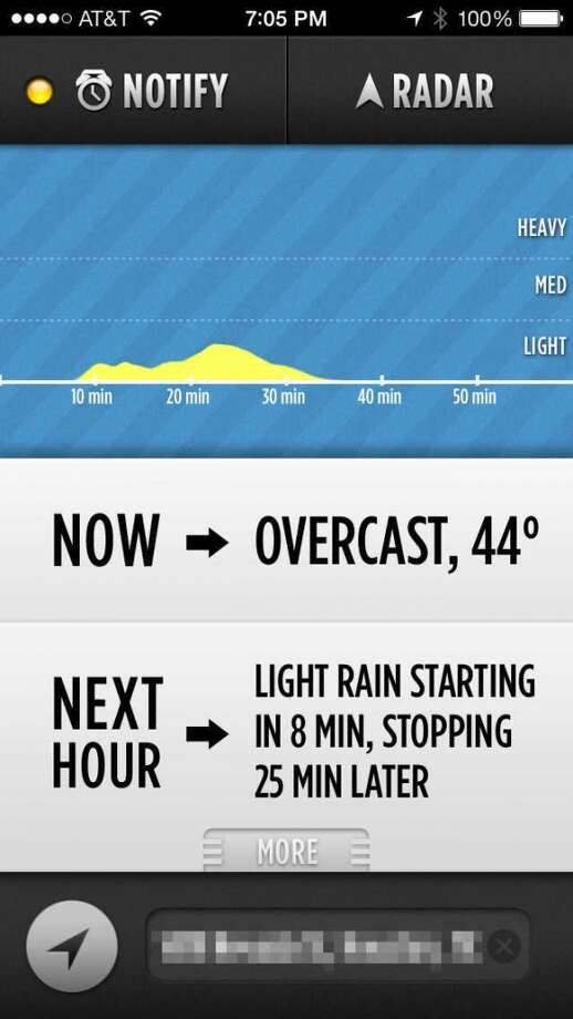 Dark Sky warns you when it will start to rain, and for how long.