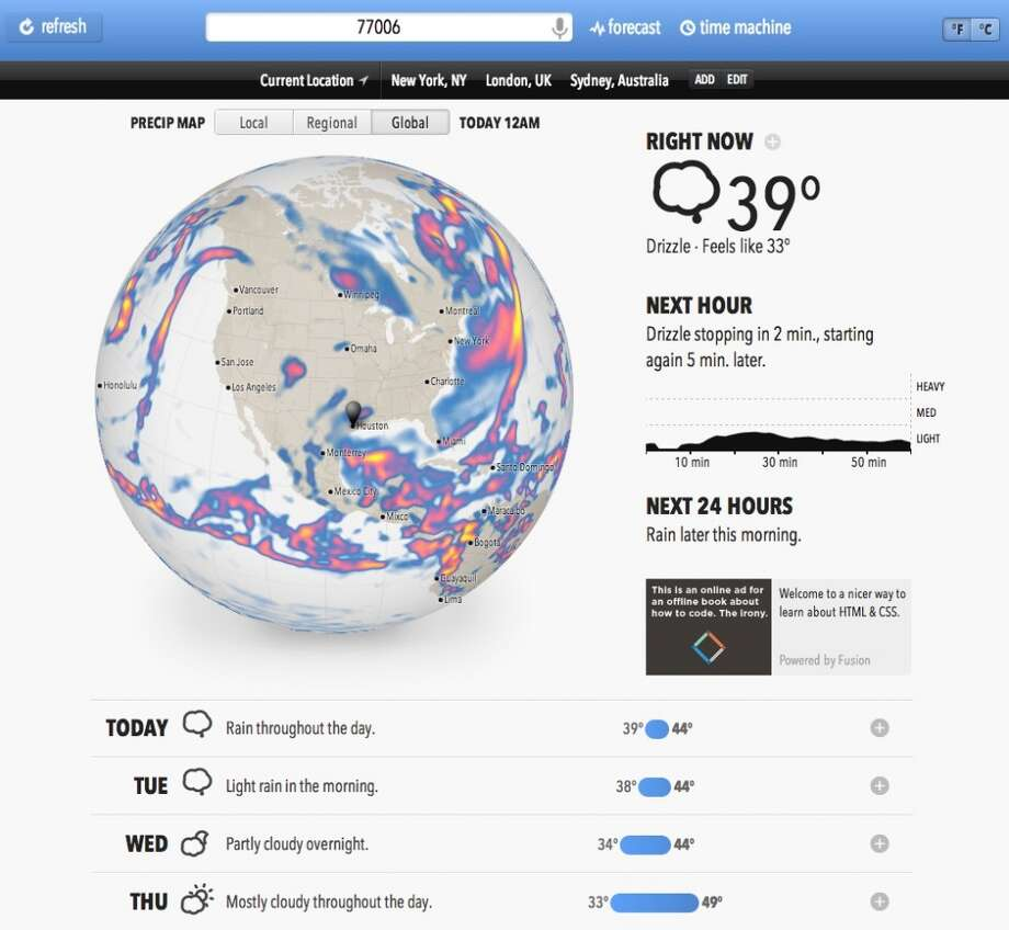 This is how Forecast.io looks on the desktop.