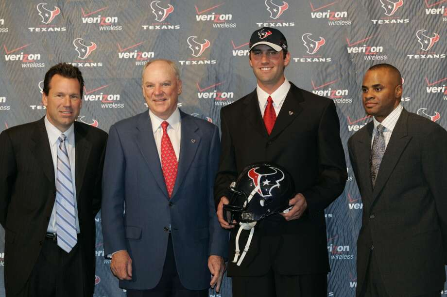 From left to right: Gary Kubiak, owner Bob McNair, quarterback Matt Schaub and general manager Rick Smith pose a photo during the news conference announcing Schaub's new contract. The Texans acquired the quarterback in March 2007 trade with the Atlanta Falcons. Photo: Nathan Lindstrom, For The Chronicle