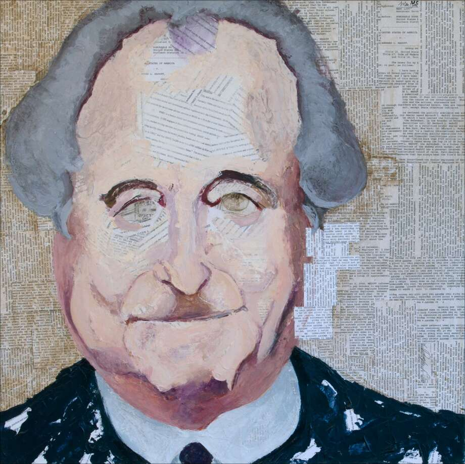"Geoffrey Stein's ""Bernie Madoff"" is among the portraits on display at the University of Connecticut Stamford campus through the end of November 2013."