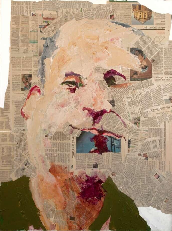 """Guardian,"" a self-portrait by Geoffrey Stein is on display in Stamford, Conn."
