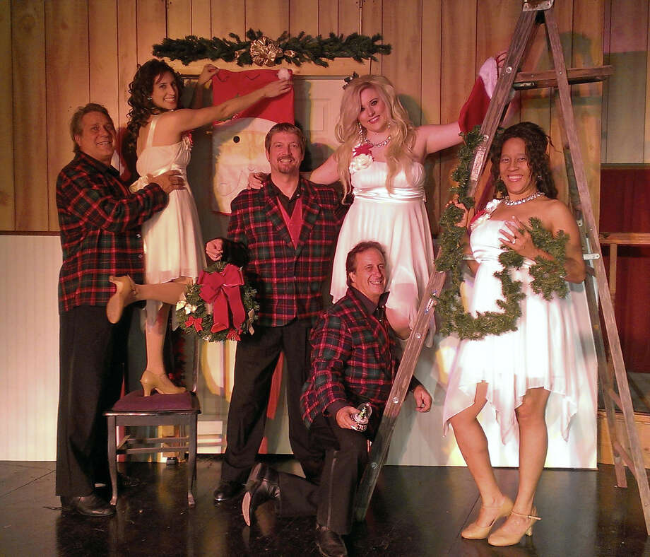 """Michael Berlet (top from left) Stephanie Van De Walle, Mark Tubbs, Kylee Skye Lynn and (front from left) Tim Miller and LiGaya appear in """"Tinsel...Memories of Christmas"""" at the Carmack Event Center. Photo: Courtesy Carmack Event Center"""