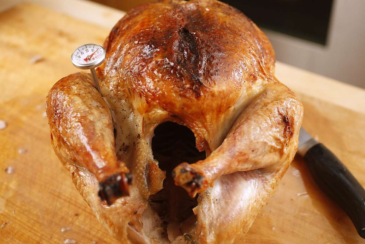 Thermometer in a Bestway air dried turkey.