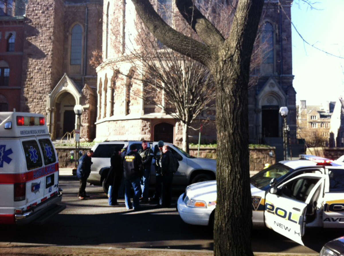 The scene at College and Elm Streets in New Haven, Conn. on Monday, Nov. 25, 2013. There is a confirmed report of a person with a gun on or near YaleâÄôs Old campus area, near Chapel and High streets in New Haven officials say.