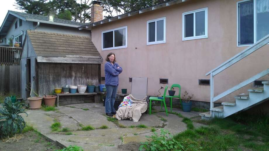 Caroline Goodwin, first ever Poet Laureate of San Mateo County in her backyard. The Chronicle/Sam Whiting