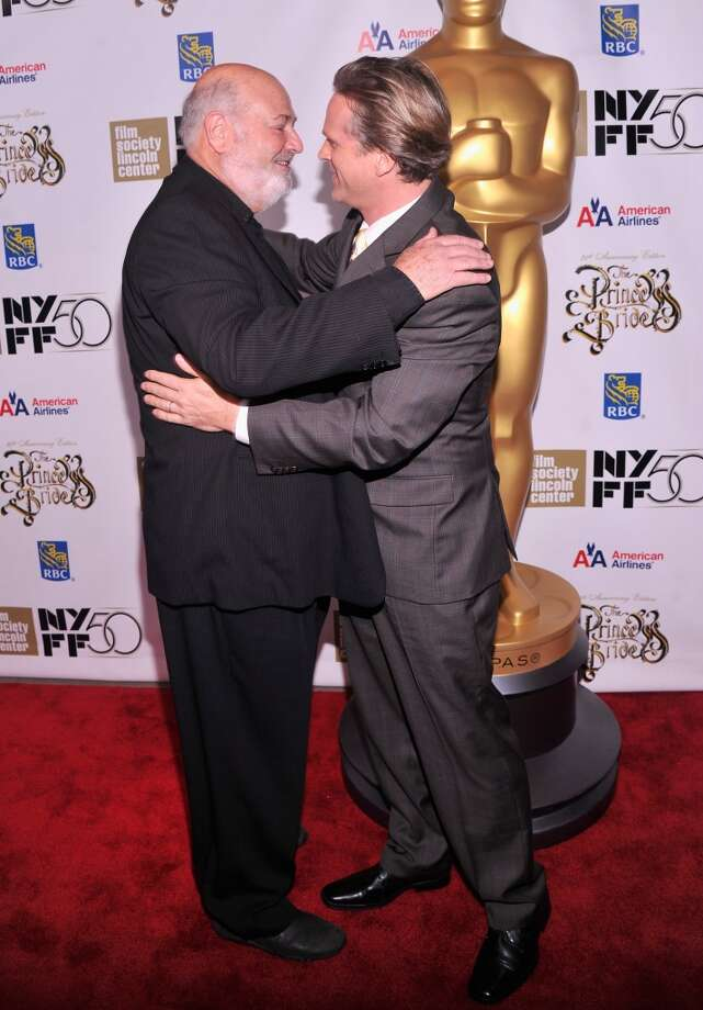 "Director Rob Reiner and Cary Elwes hug at the 25th anniversary screening & cast reunion of ""The Princess Bride."" Photo: Stephen Lovekin/Getty Images"