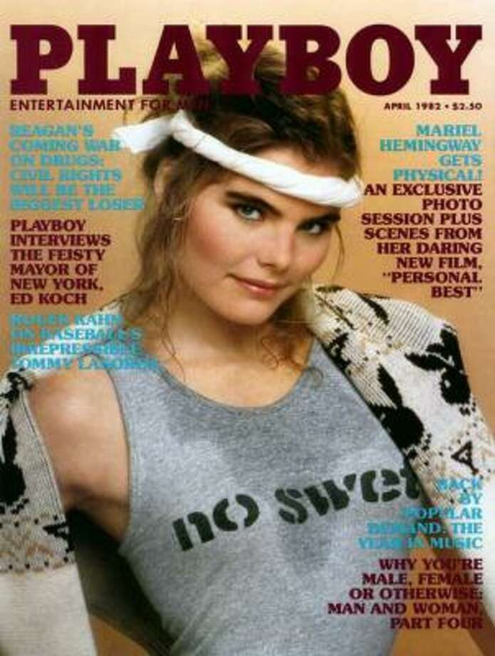 Actress Mariel Hemingway getting physical on the cover of the April 1982 issue.