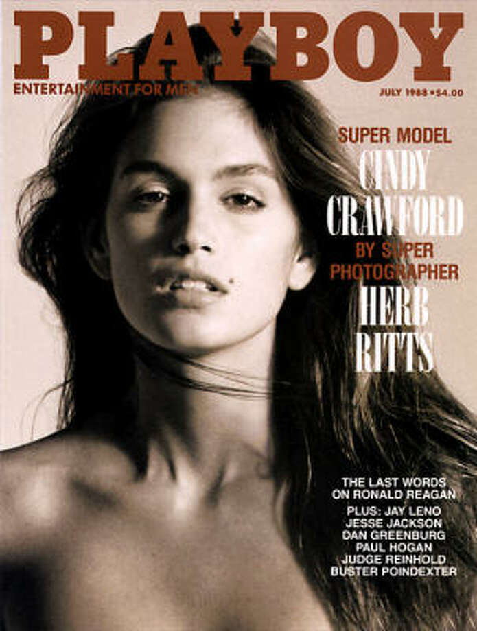 Photographer Herb Ritts took this stunning cover shot of Cindy Crawford, along with the spread inside. July 1988.