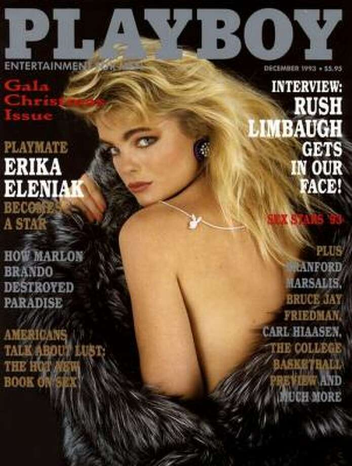 One of many Baywatch babes to grace the cover, Erika Eleniak poses for the Gala Christmas issue. December 1993.