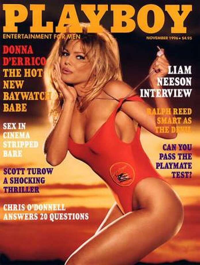 "Playboy model turned actress, Donna D'Errico, returned to the cover a year after her departure from the magazine to celebrate her new role on TV's ""Baywatch."" November 1996"