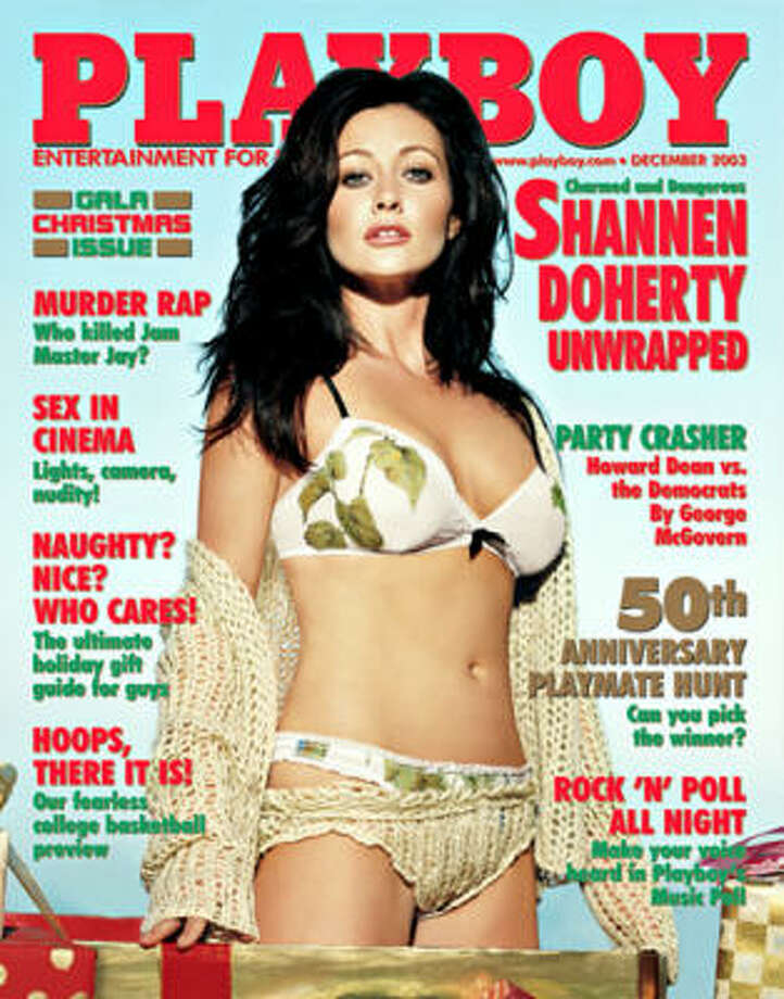 "Portrayed as one of the ""bad girls"" of television, Shannen Doherty poses for the Gala Christmas issue. (We're guessing she was on the naughty list). December 2003."