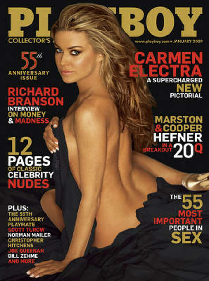 One of Carmen Electra's several appearances in Playboy – her first was in 1996, over a decade earlier. January 2009.