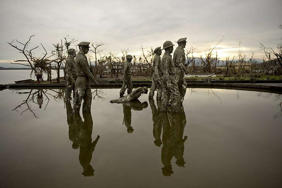 With the exception of one soldier, the bronze figures depicting Gen. Douglas MacArthur's landing in the 