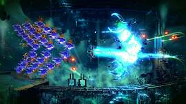 "In an undated handout photo, a scene from the game ""Resogun,"" one of the launch titles for the Sony PlayStation 4. The new console, vying with the Microsoft Xbox One, hopes to be an all-in-one conduit for entertainment content into living rooms, even as competition for the time of both gamers and TV-watchers proliferates. (Sony Computer Entertainment America via The New York Times) -- NO SALES; FOR EDITORIAL USE ONLY WITH STORY SLUGGED GAME-CONSOLES BY SUELLENTROP & TOTILO. ALL OTHER USE PROHIBITED."