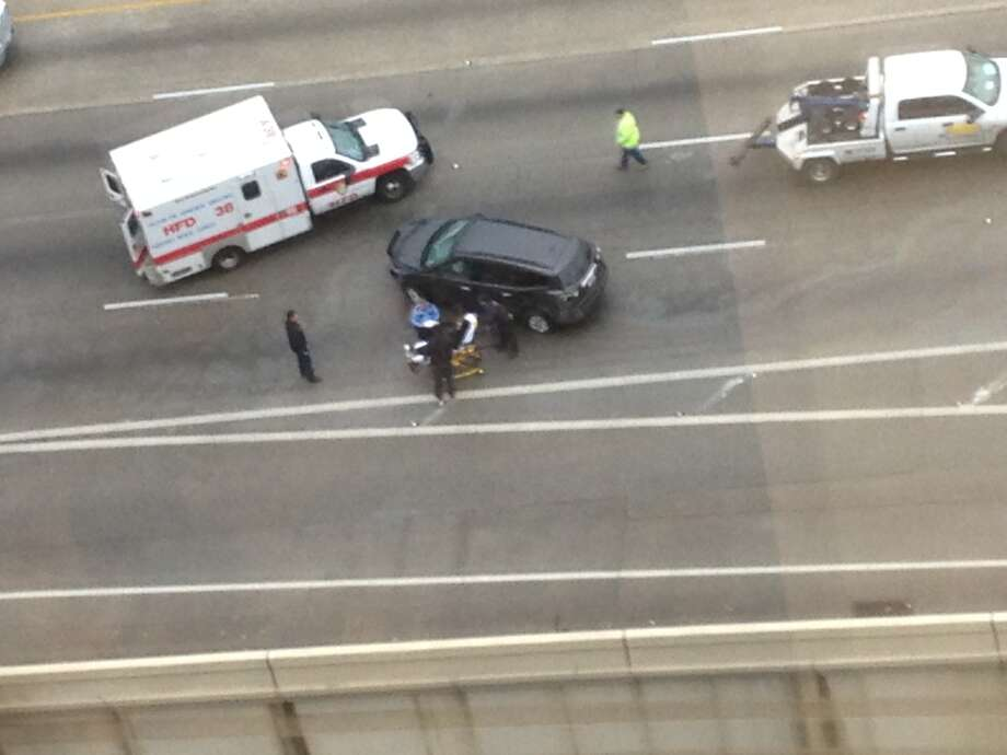 Reader Mike Pena sent in this photo of the accident on the West Loop.