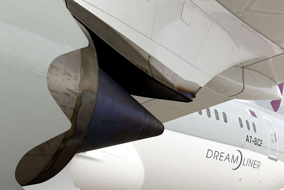 The engine section on a Boeing 787 Dreamliner aircraft, operated by Qatar Airways Ltd., manufactured by Boeing Co., is seen on display during the 13th Dubai Airshow at Dubai World Central (DWC) in Dubai, United Arab Emirates, on Sunday, Nov. 17, 2013. The 13th edition of the biennial 2013 Dubai Airshow, the Middle East's leading aerospace event organized by F&E Aerospace. Photographer: Duncan Chard/Bloomberg Photo: Duncan Chard, Bloomberg