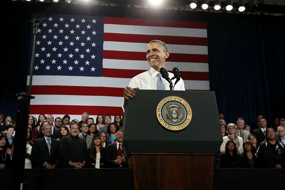 President Obama speaks to about 400 invited guests at the Betty Ann Ong Chinese Recreation Center in S.F. Photo: Brant Ward, The Chronicle