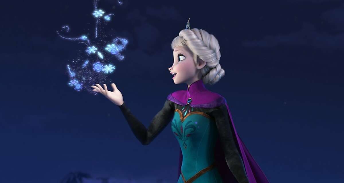 This image released by Disney shows Elsa the Snow Queen, voiced by Idina Menzel, in a scene from the animated feature