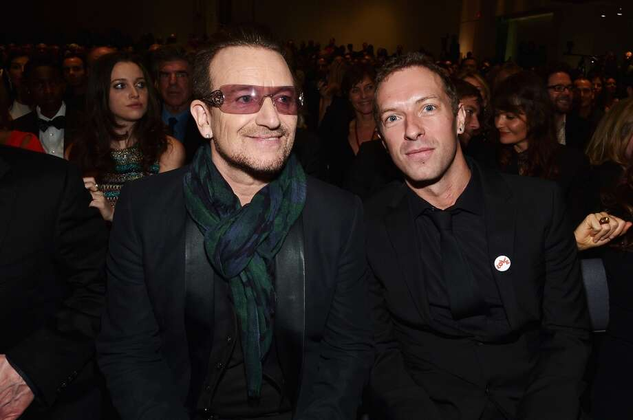 Bono and Chris Martin attend Jony And Marc's (RED) Auction at Sotheby's on November 23, 2013 in New York City.  (Photo by Mike Coppola/Getty Images for (RED)) Photo: Mike Coppola