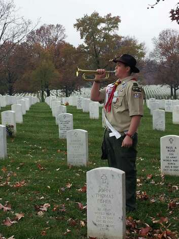 Zachary VanAmburgh,13, an eighth-grader at Shaker Junior High School was among buglers from 26 states who played Taps to commemorate the 50th anniversary of President John F. Kennedy's death.  The event also honored Army Sgt. Keith Clark, who played the solemn melody at the President's funeral. VanAmburgh also represented Boy Scout Troop 62 Nomads of Latham, the Kittan Lodge of the Order of the Arrow and BSA Twin Rivers Council. (Submitted photo)