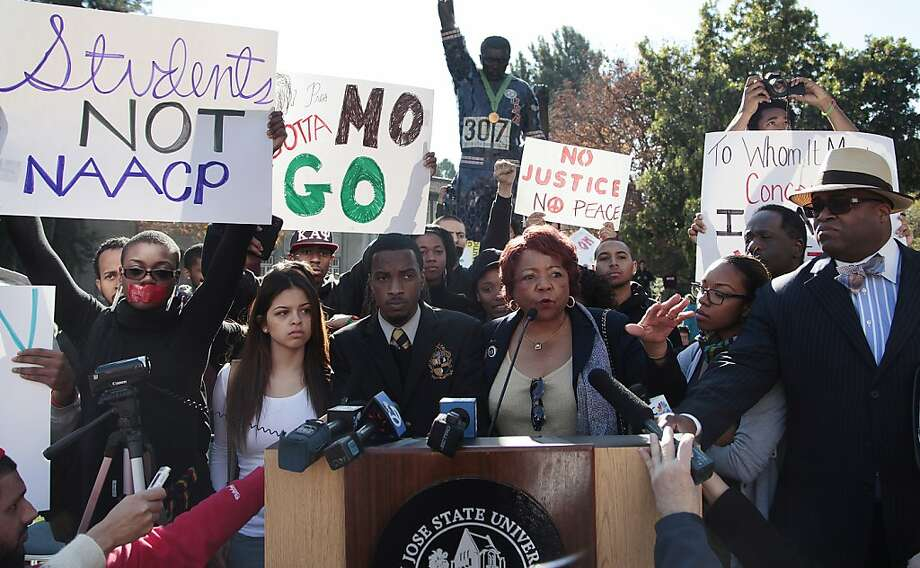 Alice Huffman, president of the California NAACP, speaks to students on the San Jose State campus about the incident. Photo: James Tensuan, SFC
