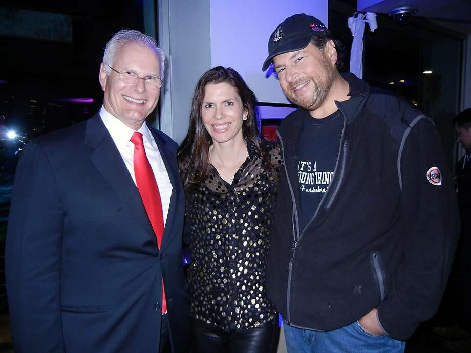 UCSF Medical Center CEO Mark Laret (left) with philanthropists Lynne and Marc Benioff. Photo: Catherine Bigelow, Special To The Chronicle