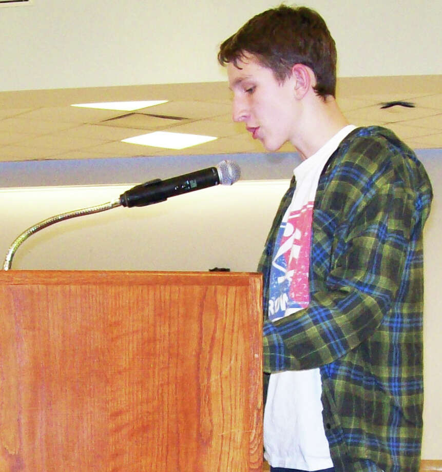 Student, Theo Koskoff, was one of about a dozen people to speak during Monday's Board of Education meeting in support of keeping the 8th grade drama and presentation skills class. Photo: Anne M. Amato / Westport News
