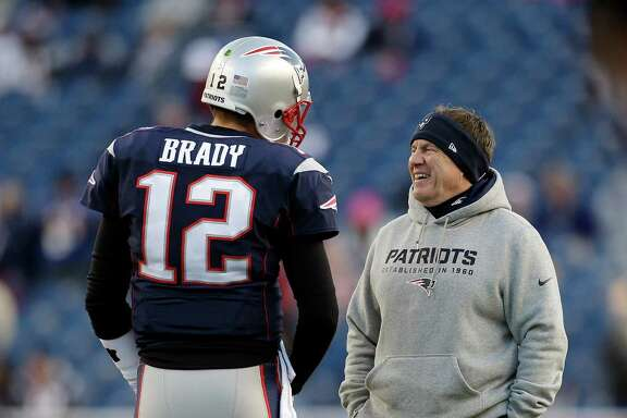 It shapes up as another laugher against the Texans for Tom Brady, left, and Bill Belichick on Sunday.