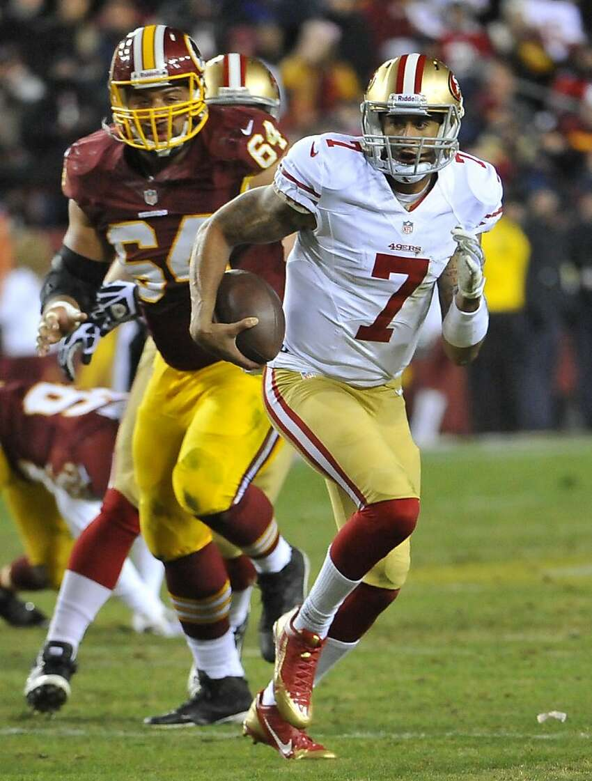 San Francisco 49ers quarterback Colin Kaepernick (7) runs against Washington in the fourth quarter at FedEx Field in Landover, Md,, Monday, Nov. 25, 2013. The 49ers defeated Washington, 27-6.