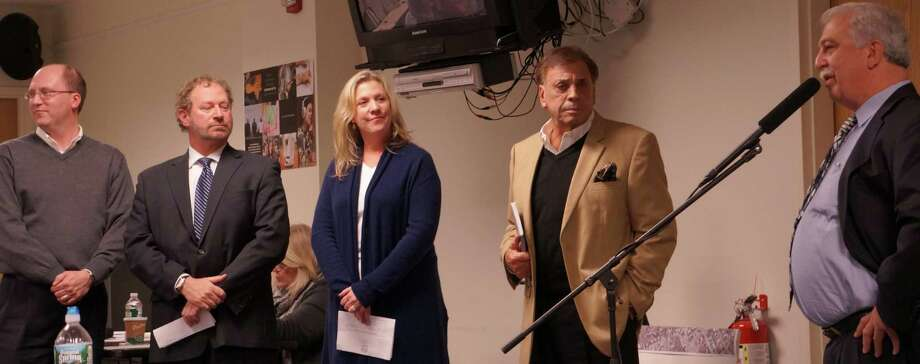 Members of new committee that will oversee plans to repair storm-damaged Penfield Pavilion, approved Monday by the Representative Town Meeing, include, from left: Robert Bellitto Jr. Ian Bass, Jane Nelson, Richard Speciale and Ellery Plotkin. Photo: Genevieve Reilly / Fairfield Citizen