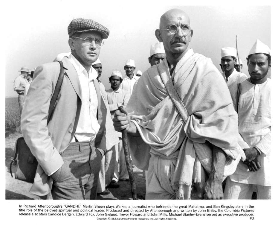 """""""Ghandi"""" sequel:We're watching and reading this sequel on television news pretty much daily as it is. But, what if the sequel was one where Ghandi didn't die, but had been … Okay, that's just too dumb to imagine.  But, apparently not too dumb for Hollywood.Photo: Martin Sheen standing with Ben Kingsley in a scene from the film 'Gandhi', 1982. Photo: Archive Photos, Getty Images / 2012 Getty Images"""