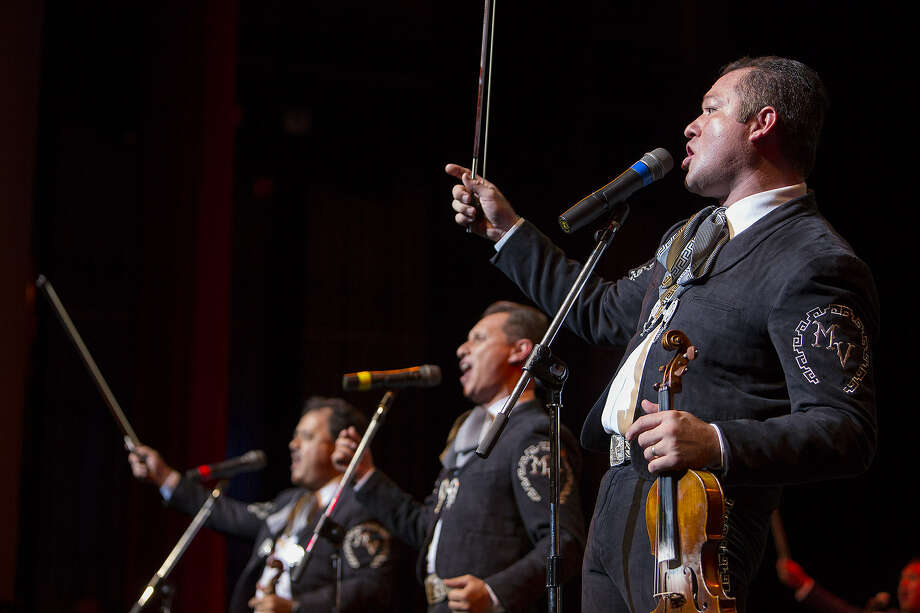 "Jose ""Pepe"" Martinez Jr. (right) of Mariachi Vargas plays with the band at Lila Cockrell Theatre in 2012. They return to the theater this year for a Dec. 7 concert after a week of mariachi-related events."