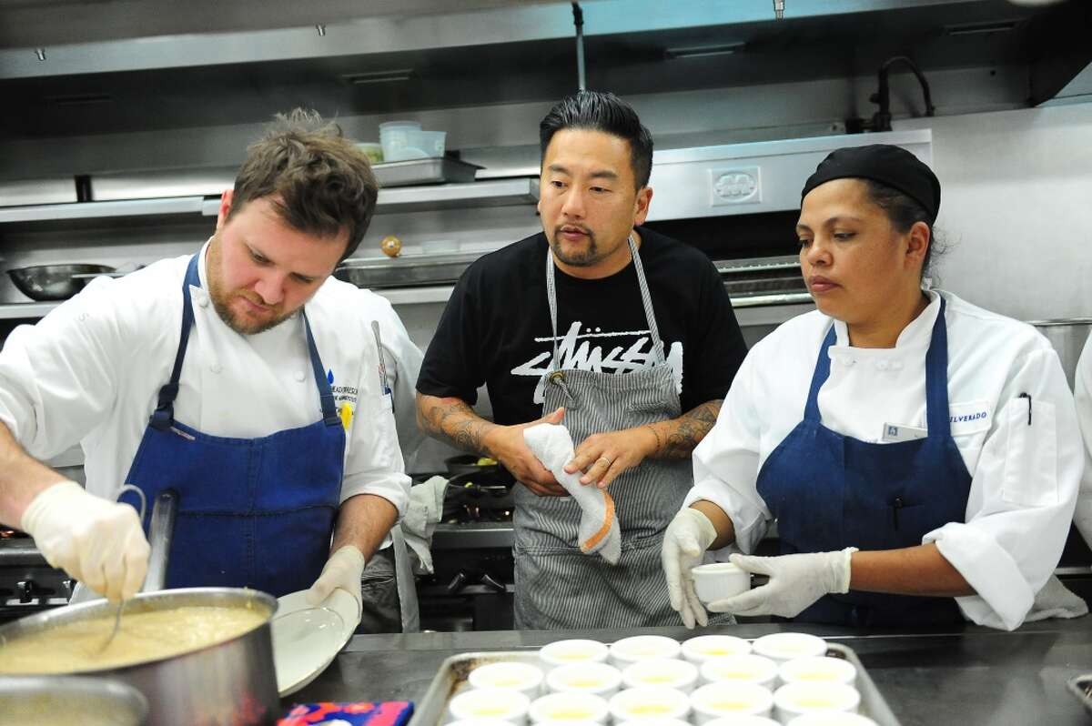 Chef Roy Choi oversees his dish in the kitchen during the welcome dinner for Flavor! Napa Valley held at the Silverado Resort and Spa in Napa.