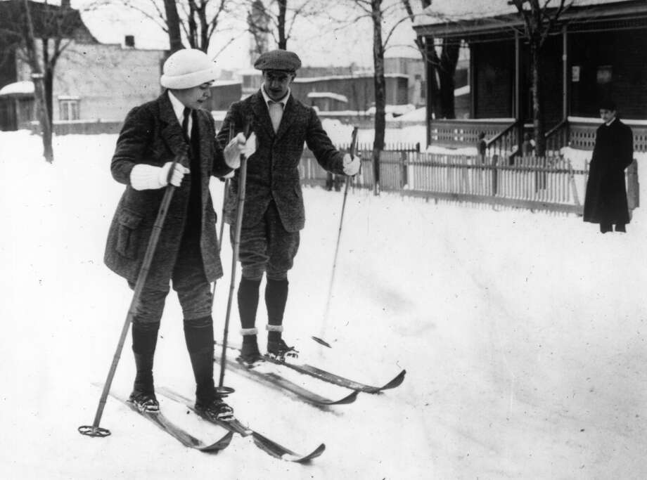 1914:  Two skiers near Montreal. Photo: Topical Press Agency, Getty Images
