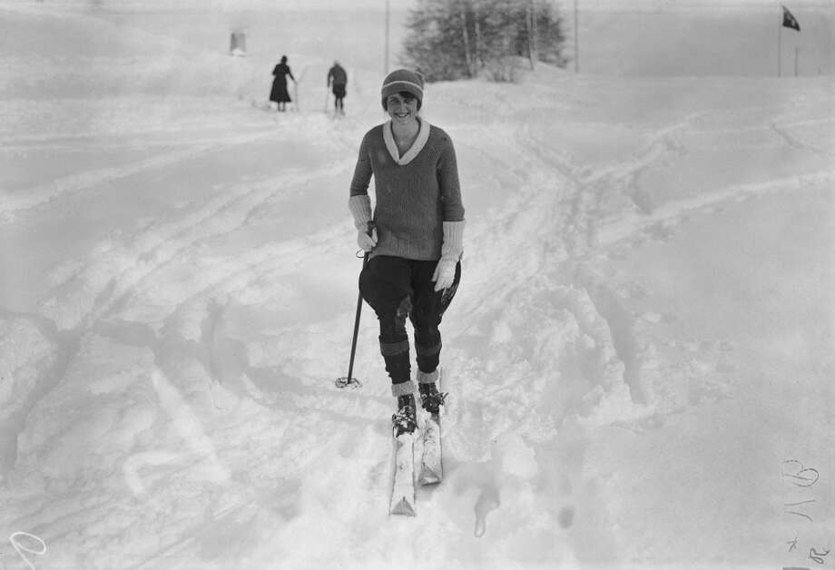 1921: Mrs G. Doyle on the ski slopes at St Moritz, Switzerland. Photo: W. G. Phillips, Getty Images