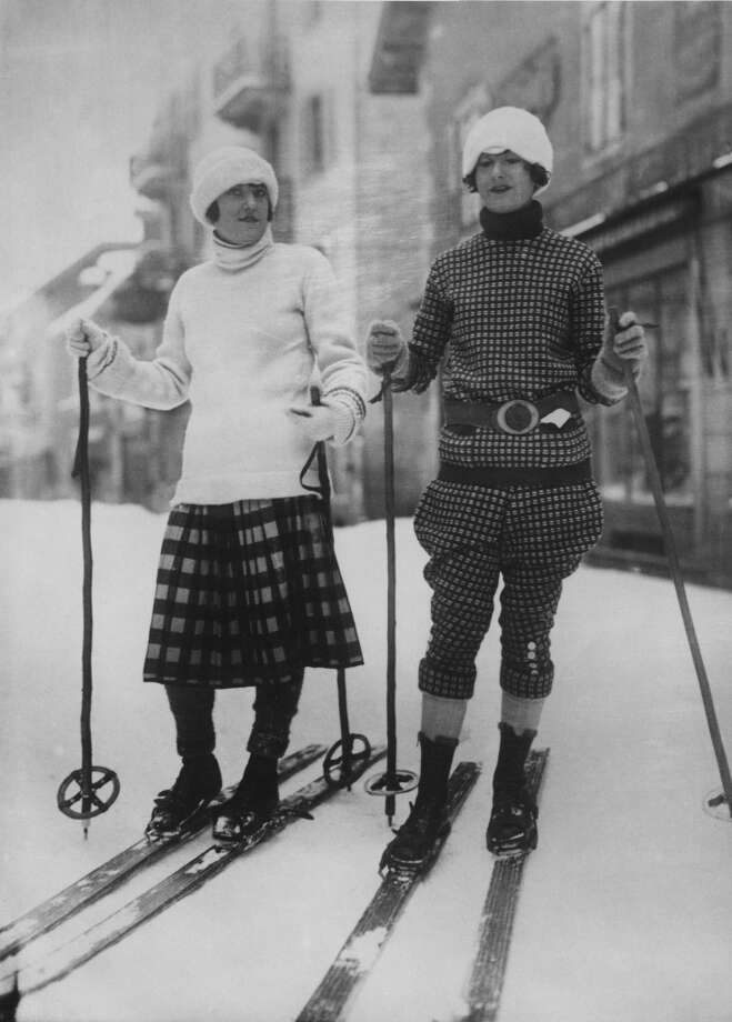 1926: Two fashionably-dressed skiers at Chamonix, France. Photo: Hulton Archive, Getty Images