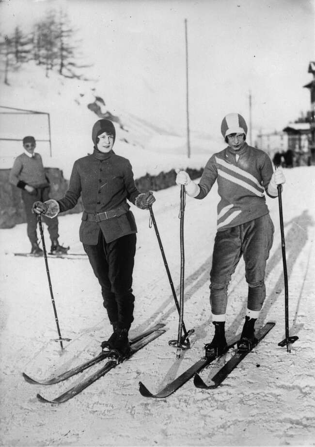 1935: Two models presenting winter fashion in St. Moritz. Photo: Imagno, Getty Images