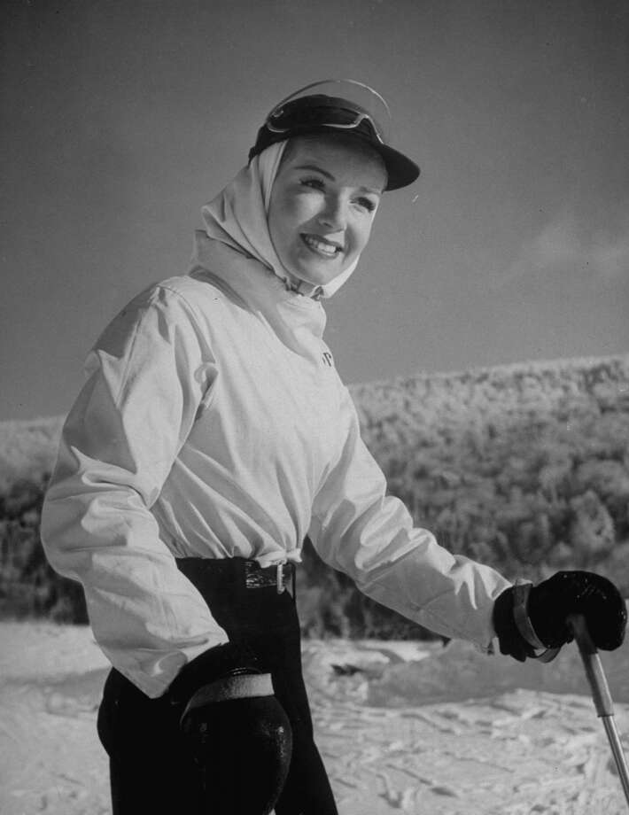 1944: Ski Fashions: Model wearing white parka and cap with visor on slopes at Mont Tremblant. Photo: Alfred Eisenstaedt, Time & Life Pictures/Getty Image