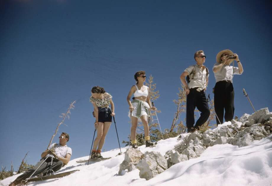 1947: Skiers wearing fashion outfits on the ski slopes of Sun Valley, Idaho. Photo: George Silk, Time Life Pictures/Getty Images