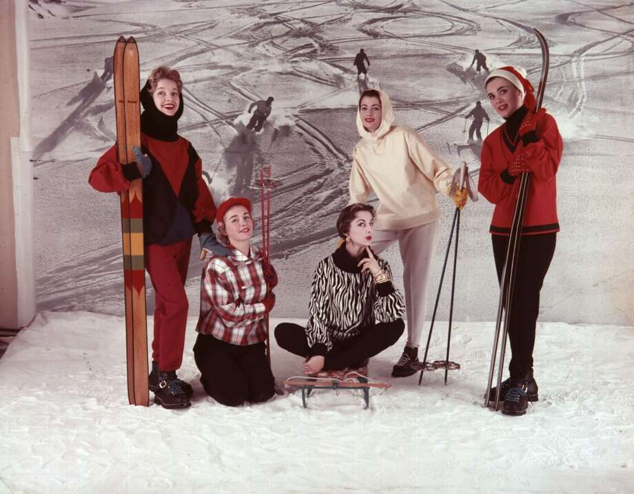 1955:  Five models show women's winter ski fashions for 1955. Photo: John Chillingworth, Getty Images