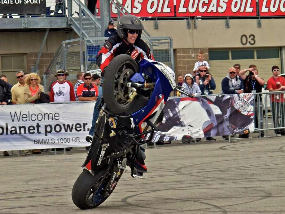 """Teach"" McNeil will perform motorcycle stunts at the Rocking Thanksgiving Bash & Bike Show. Photo: Jeffery L. Yost / Jeffery L. Yost - 2011"